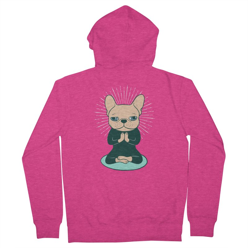 Meditate with the cute Frenchie to stay Zen  Women's French Terry Zip-Up Hoody by Emotional Frenchies - Cute French Bulldog T-shirts