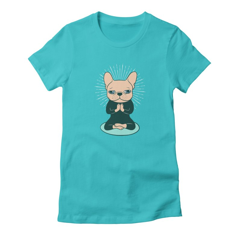 Meditate with the cute Frenchie to stay Zen  in Women's Fitted T-Shirt Pacific Blue by Emotional Frenchies - Cute French Bulldog T-shirts