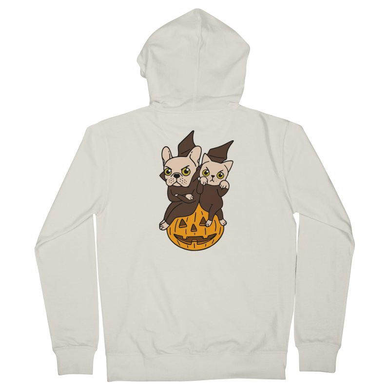 Cute Frenchie and kitten are Halloween buddies  Women's French Terry Zip-Up Hoody by Emotional Frenchies - Cute French Bulldog T-shirts