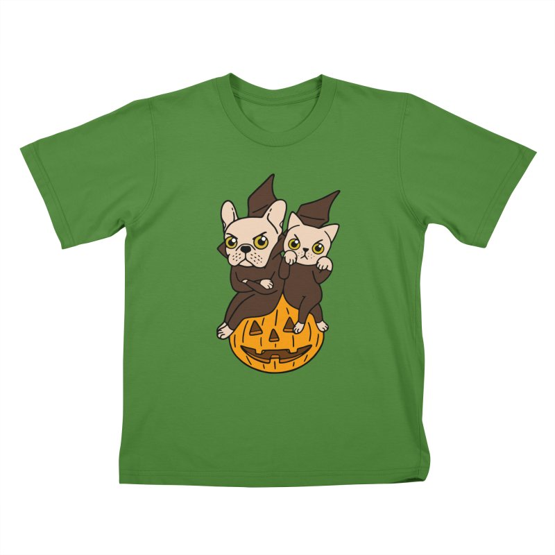 Cute Frenchie and kitten are Halloween buddies  in Kids T-Shirt Clover by Emotional Frenchies - Cute French Bulldog T-shirts