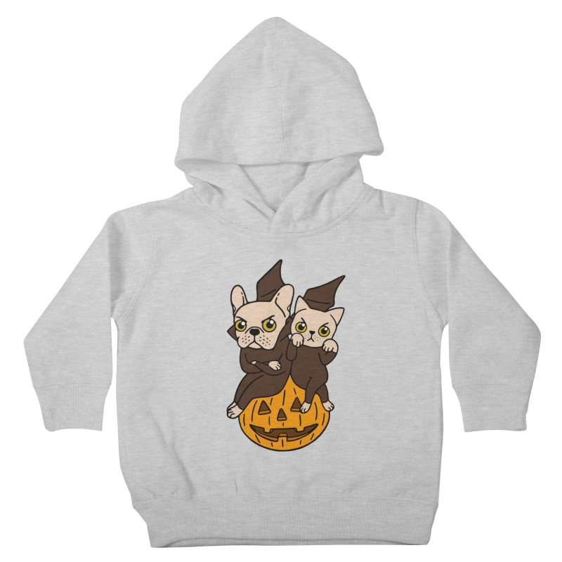 Cute Frenchie and kitten are Halloween buddies  Kids Toddler Pullover Hoody by Emotional Frenchies - Cute French Bulldog T-shirts
