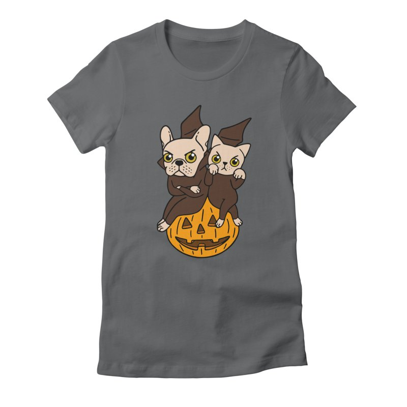 Cute Frenchie and kitten are Halloween buddies  Women's Fitted T-Shirt by Emotional Frenchies - Cute French Bulldog T-shirts