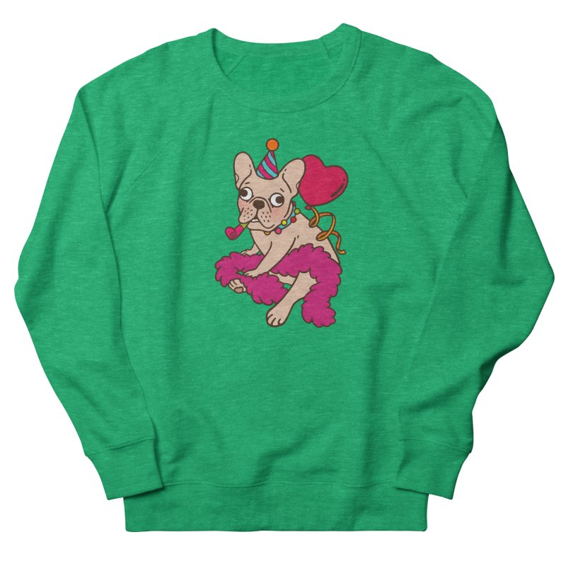 French Bulldog is a party animal  in Women's French Terry Sweatshirt Heather Kelly by Emotional Frenchies - Cute French Bulldog T-shirts