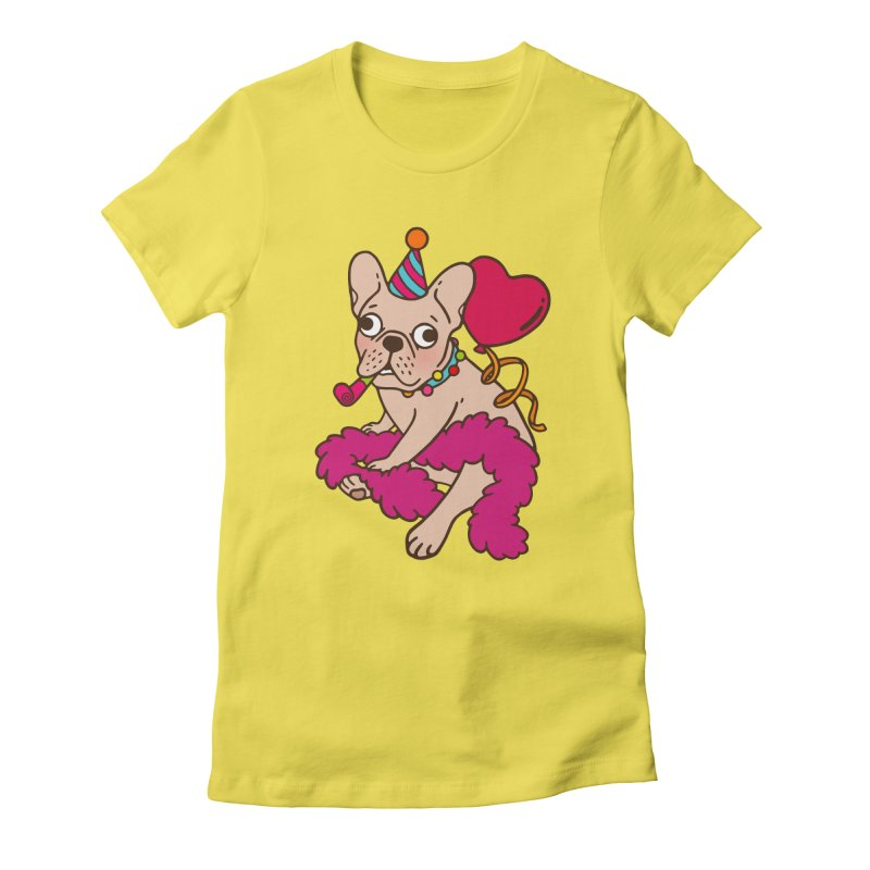 French Bulldog is a party animal  Women's Fitted T-Shirt by Emotional Frenchies - Cute French Bulldog T-shirts