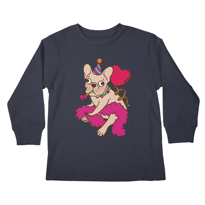 French Bulldog is a party animal  Kids Longsleeve T-Shirt by Emotional Frenchies - Cute French Bulldog T-shirts