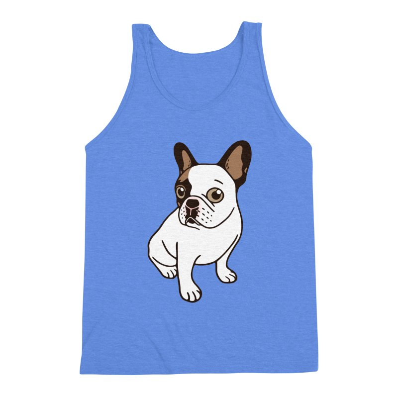 The Adorable Fawn Pied Frenchie  in Men's Triblend Tank Heather Sky Blue by Emotional Frenchies - Cute French Bulldog T-shirts