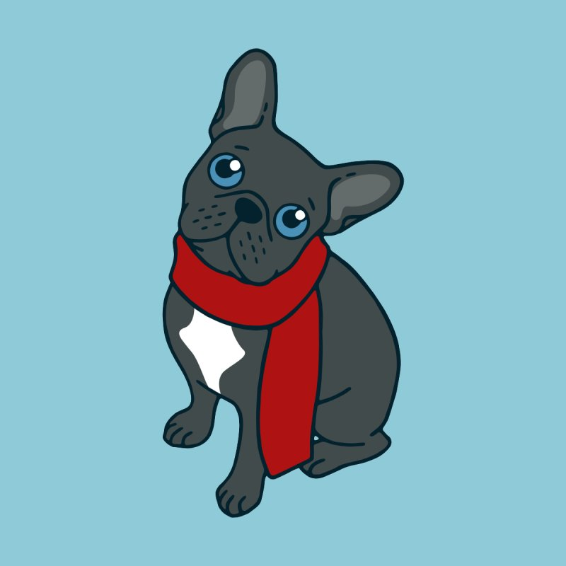 Cute blue Frenchie is ready for winter  Women's T-Shirt by Emotional Frenchies - Cute French Bulldog T-shirts