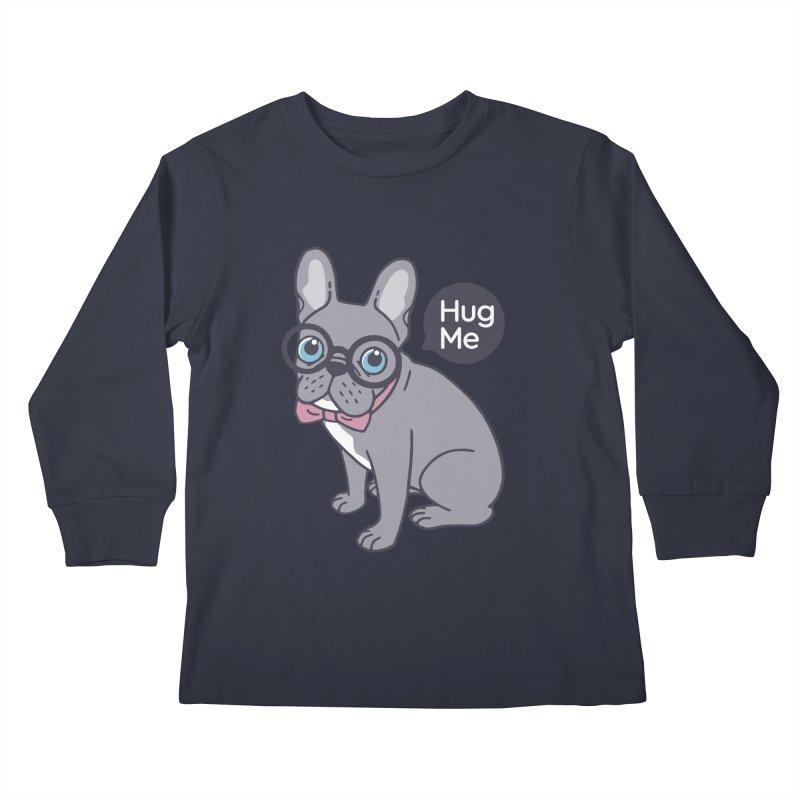 Hug me, cute Lilac Frenchie needs a hug  Kids Longsleeve T-Shirt by Emotional Frenchies - Cute French Bulldog T-shirts