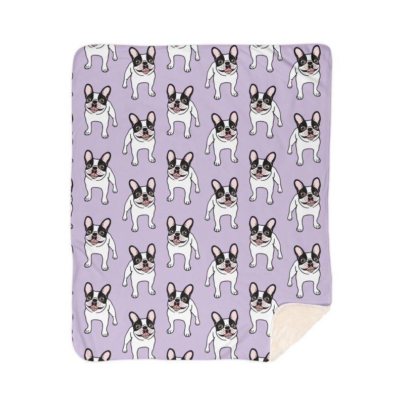 Happy Double Hooded Pied Frenchie  Home Sherpa Blanket Blanket by Emotional Frenchies - Cute French Bulldog T-shirts