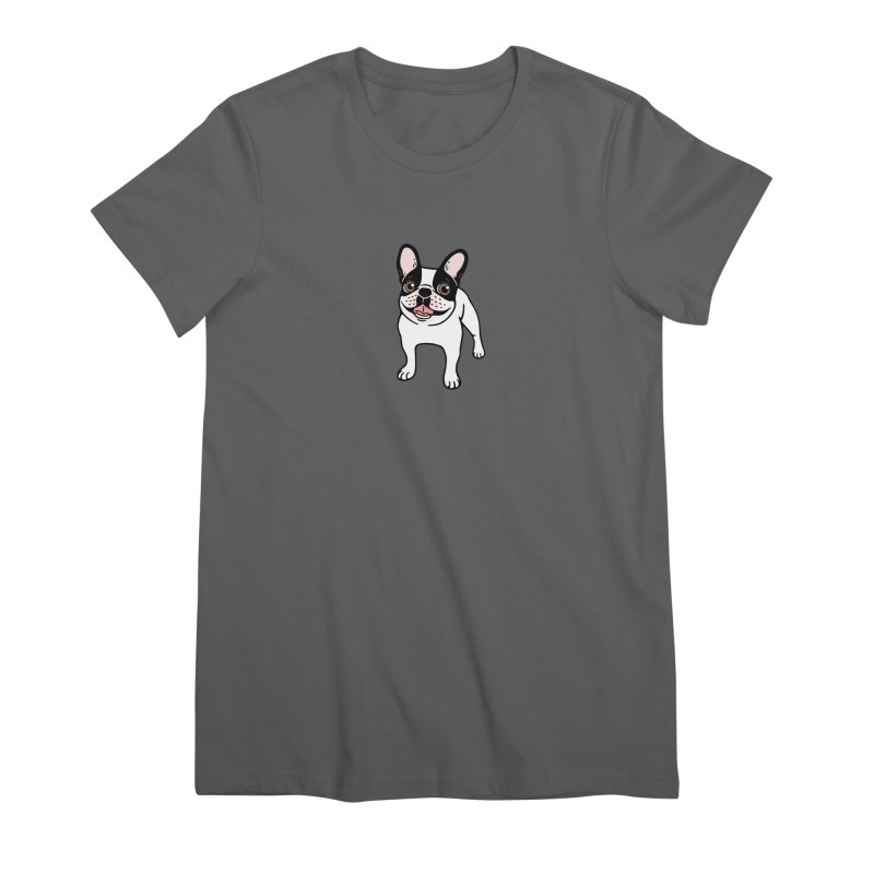 Happy Double Hooded Pied Frenchie  Women's Premium T-Shirt by Emotional Frenchies - Cute French Bulldog T-shirts