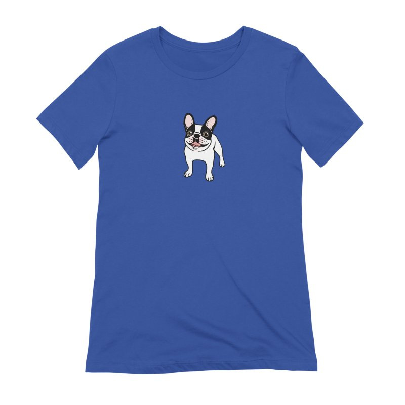 Happy Double Hooded Pied Frenchie  Women's Extra Soft T-Shirt by Emotional Frenchies - Cute French Bulldog T-shirts