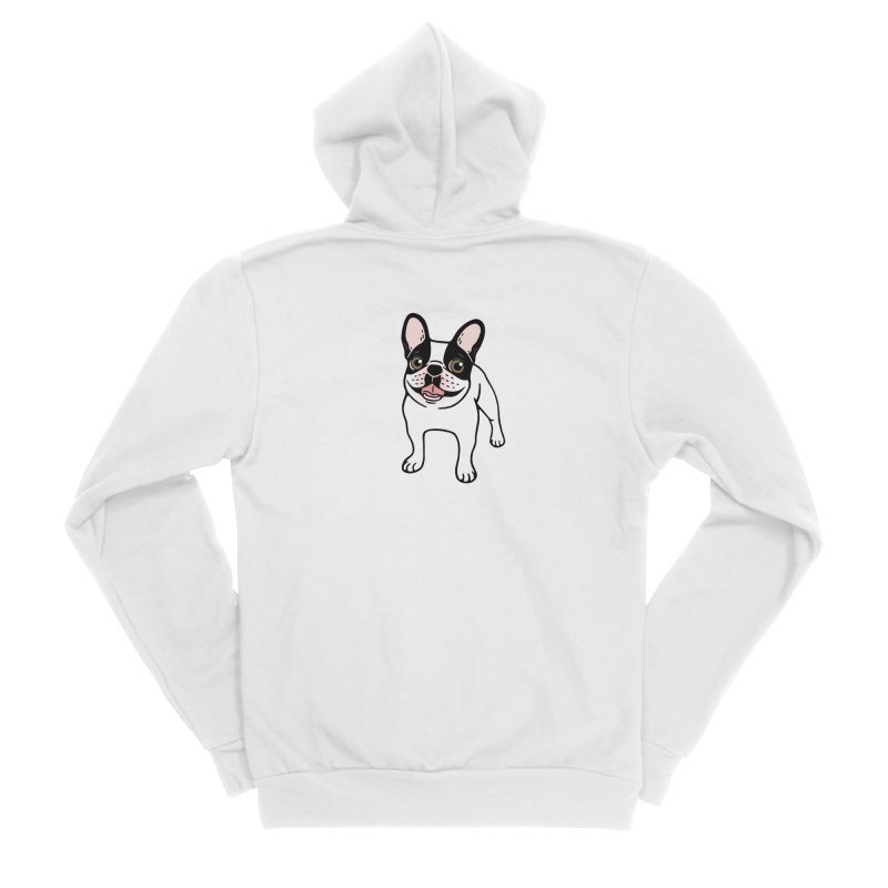 Happy Double Hooded Pied Frenchie  Men's Sponge Fleece Zip-Up Hoody by Emotional Frenchies - Cute French Bulldog T-shirts