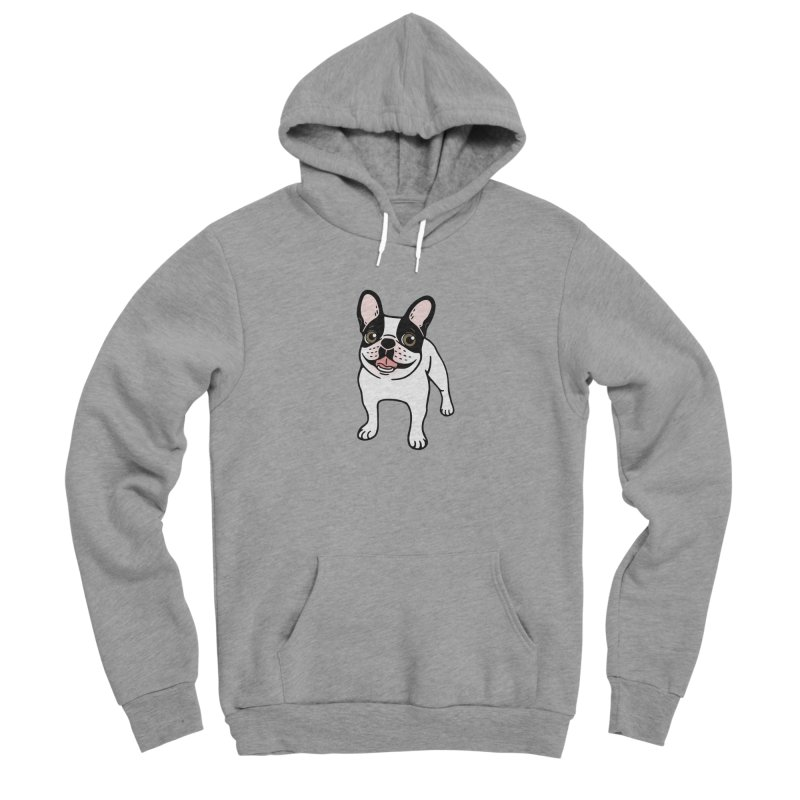 Happy Double Hooded Pied Frenchie  Women's Sponge Fleece Pullover Hoody by Emotional Frenchies - Cute French Bulldog T-shirts