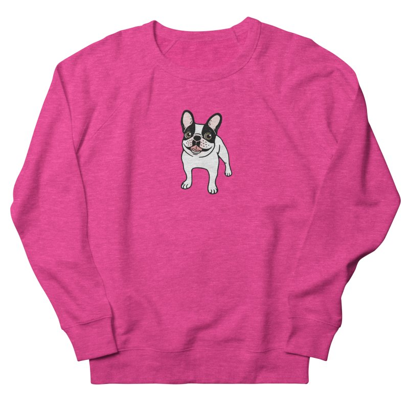 Happy Double Hooded Pied Frenchie  in Women's French Terry Sweatshirt Heather Heliconia by Emotional Frenchies - Cute French Bulldog T-shirts