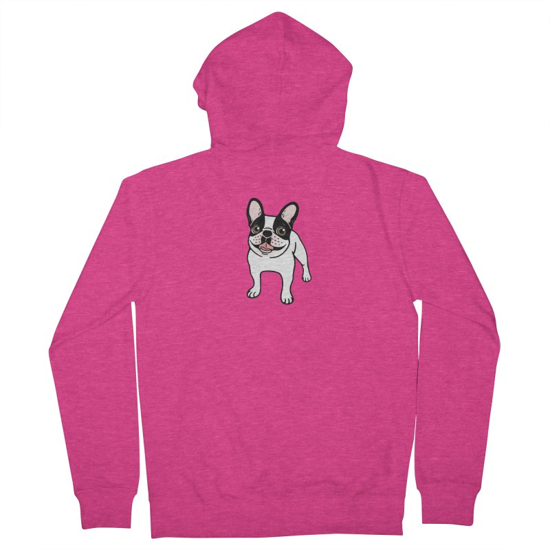 Happy Double Hooded Pied Frenchie  Women's French Terry Zip-Up Hoody by Emotional Frenchies - Cute French Bulldog T-shirts
