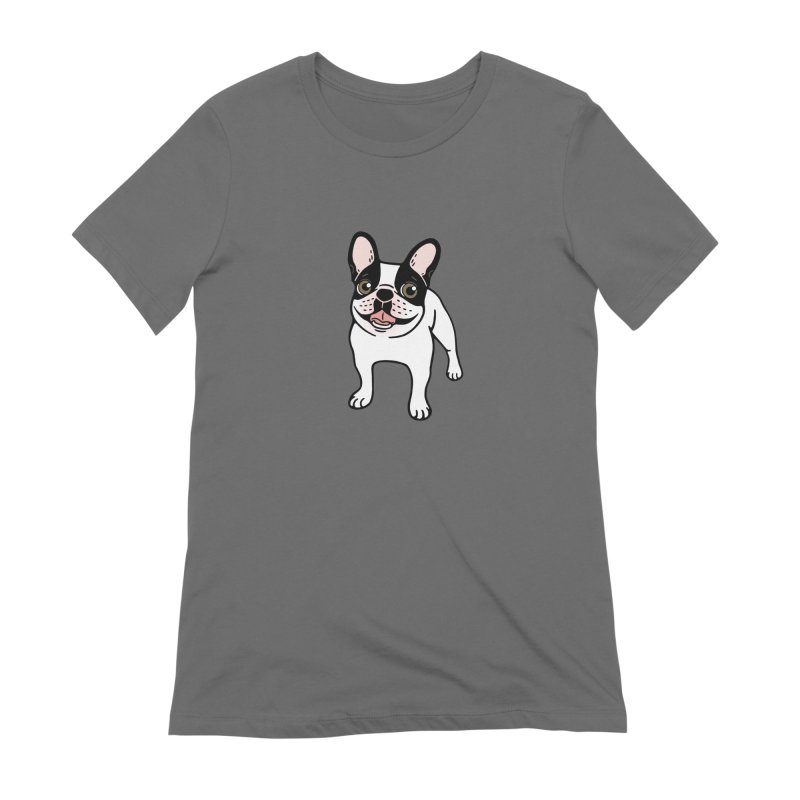 Happy Double Hooded Pied Frenchie  Women's T-Shirt by Emotional Frenchies - Cute French Bulldog T-shirts