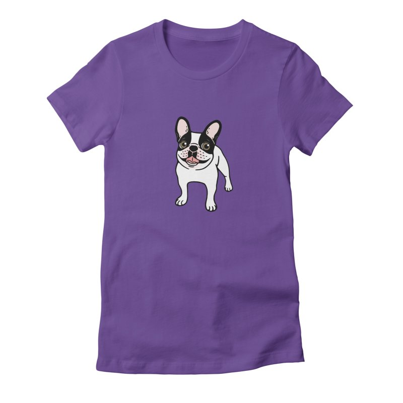 Happy Double Hooded Pied Frenchie  Women's Fitted T-Shirt by Emotional Frenchies - Cute French Bulldog T-shirts