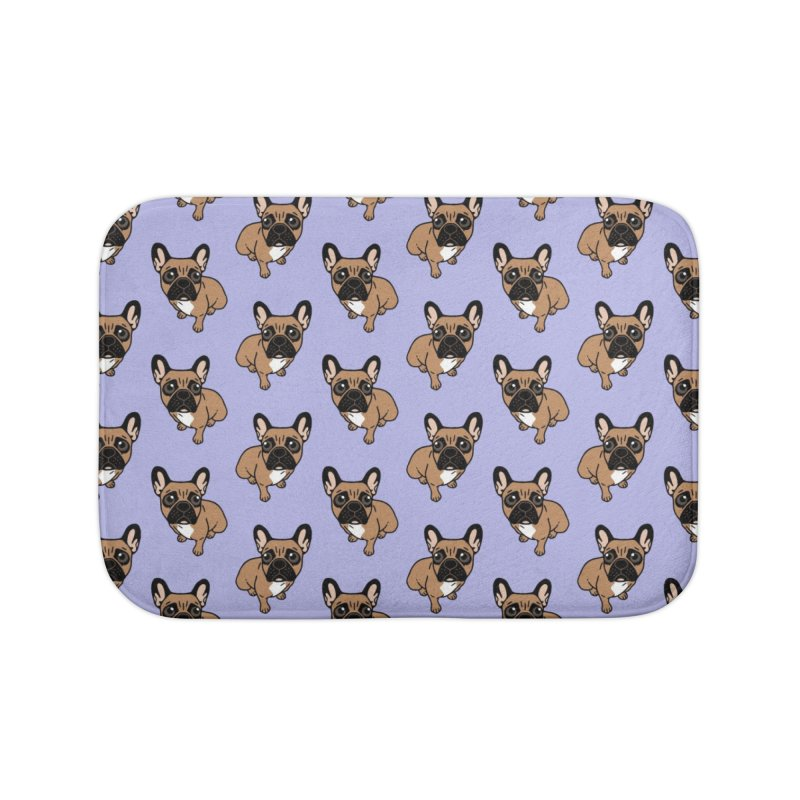 Be nice to the cute black mask fawn Frenchie  Home Bath Mat by Emotional Frenchies - Cute French Bulldog T-shirts