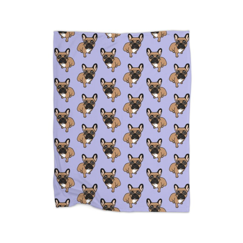 Be nice to the cute black mask fawn Frenchie  Home Fleece Blanket Blanket by Emotional Frenchies - Cute French Bulldog T-shirts