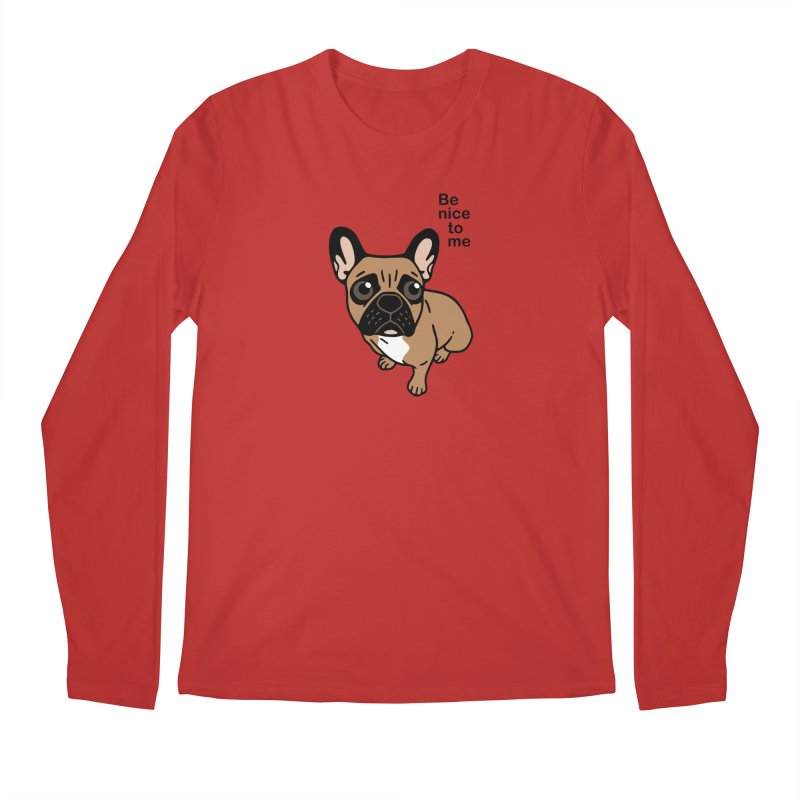Be nice to the cute black mask fawn Frenchie  Men's Regular Longsleeve T-Shirt by Emotional Frenchies - Cute French Bulldog T-shirts
