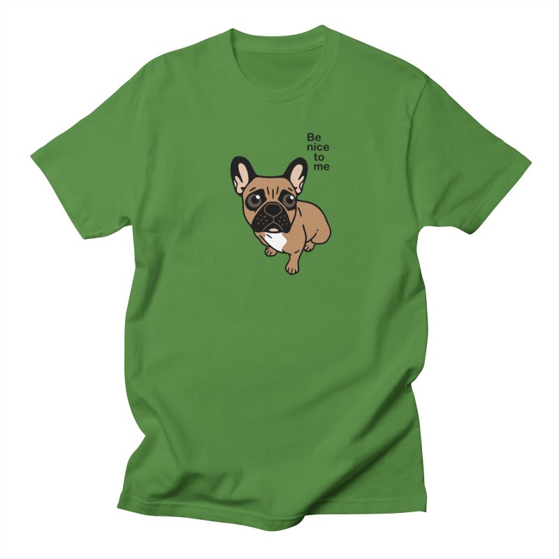 Be nice to the cute black mask fawn Frenchie  Men's Regular T-Shirt by Emotional Frenchies - Cute French Bulldog T-shirts