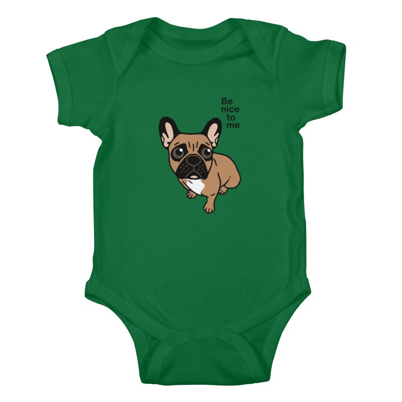 Be nice to the cute black mask fawn Frenchie  Kids Baby Bodysuit by Emotional Frenchies - Cute French Bulldog T-shirts