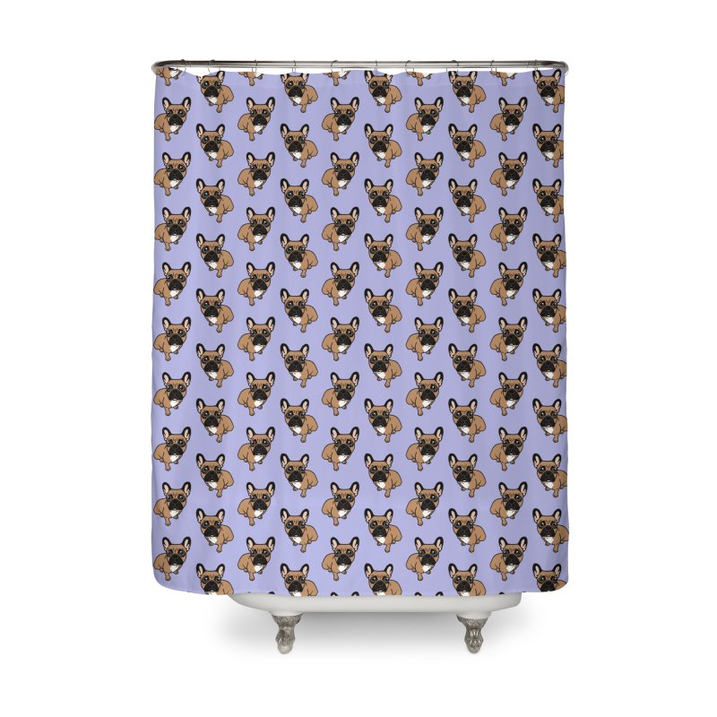 Be nice to the cute black mask fawn Frenchie  Home Shower Curtain by Emotional Frenchies - Cute French Bulldog T-shirts