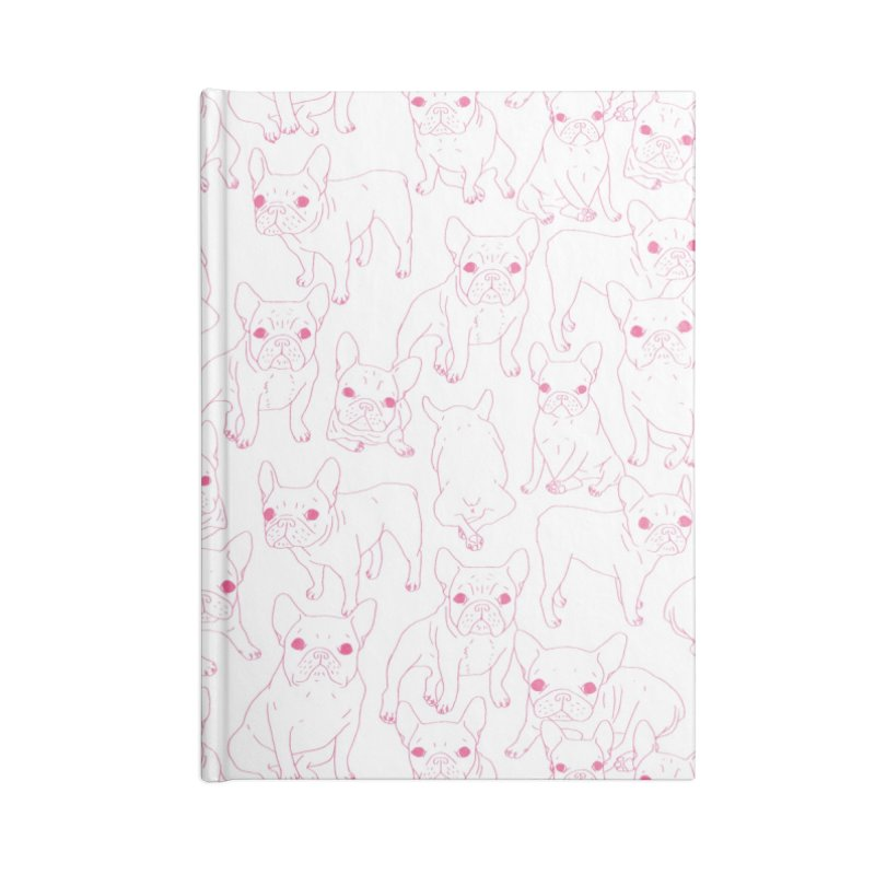 Hand Drawn Cute Frenchies Collage  Accessories Lined Journal Notebook by Emotional Frenchies - Cute French Bulldog T-shirts