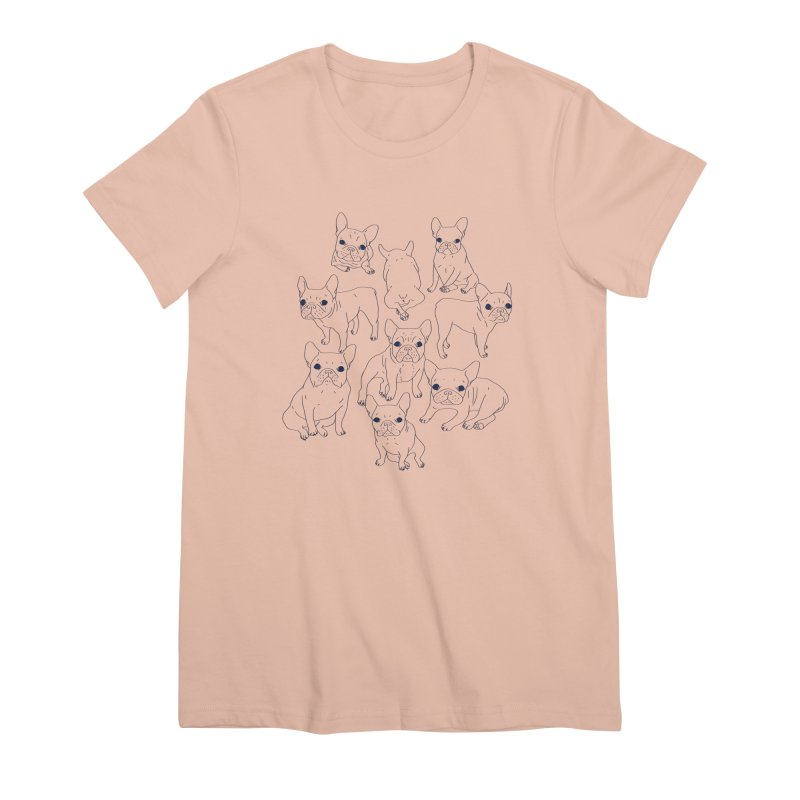 Hand Drawn Cute Frenchies Collage  Women's Premium T-Shirt by Emotional Frenchies - Cute French Bulldog T-shirts