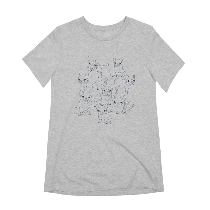 Hand Drawn Cute Frenchies Collage  Women's Extra Soft T-Shirt by Emotional Frenchies - Cute French Bulldog T-shirts