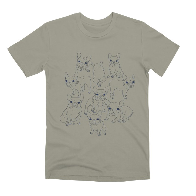 Hand Drawn Cute Frenchies Collage  Men's Premium T-Shirt by Emotional Frenchies - Cute French Bulldog T-shirts