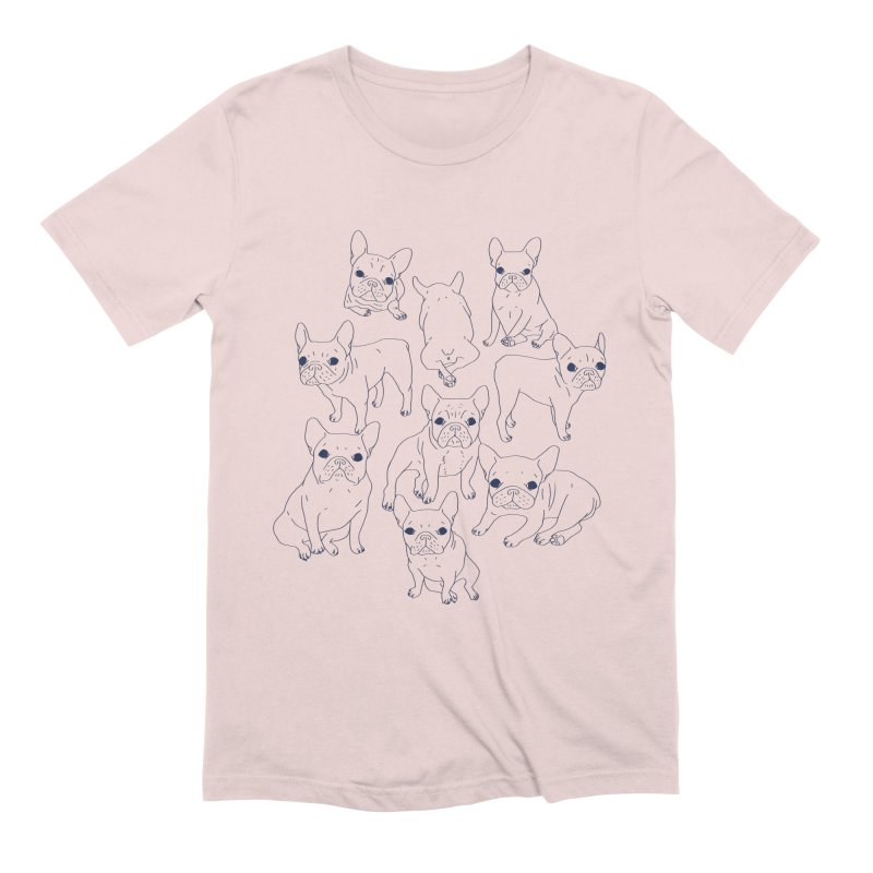 Hand Drawn Cute Frenchies Collage  Men's Extra Soft T-Shirt by Emotional Frenchies - Cute French Bulldog T-shirts