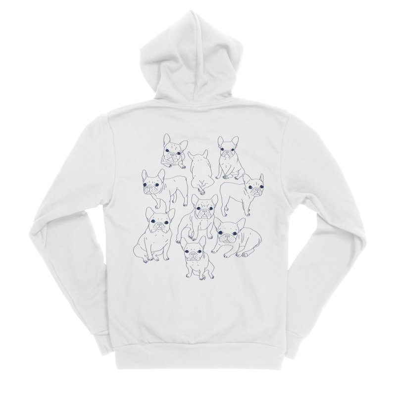 Hand Drawn Cute Frenchies Collage  Men's Sponge Fleece Zip-Up Hoody by Emotional Frenchies - Cute French Bulldog T-shirts