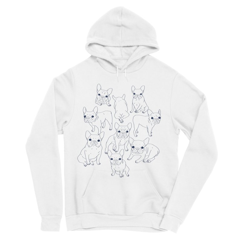 Hand Drawn Cute Frenchies Collage  Women's Sponge Fleece Pullover Hoody by Emotional Frenchies - Cute French Bulldog T-shirts