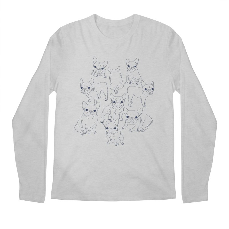 Hand Drawn Cute Frenchies Collage  Men's Longsleeve T-Shirt by Emotional Frenchies - Cute French Bulldog T-shirts