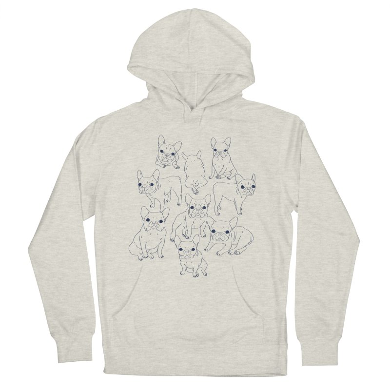 Hand Drawn Cute Frenchies Collage  Men's French Terry Pullover Hoody by Emotional Frenchies - Cute French Bulldog T-shirts