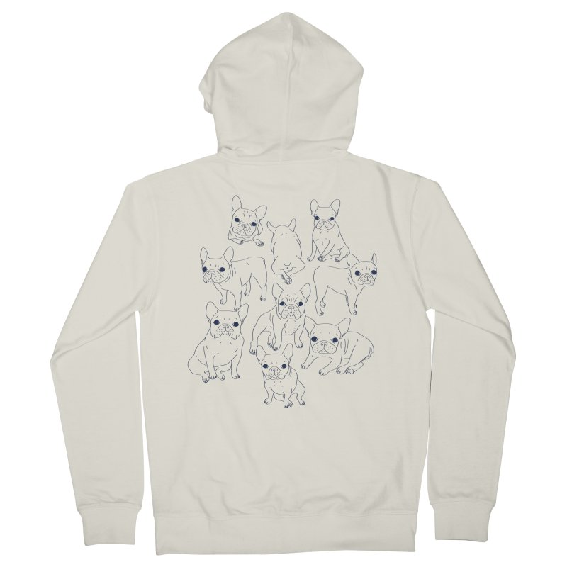 Hand Drawn Cute Frenchies Collage  Women's French Terry Zip-Up Hoody by Emotional Frenchies - Cute French Bulldog T-shirts