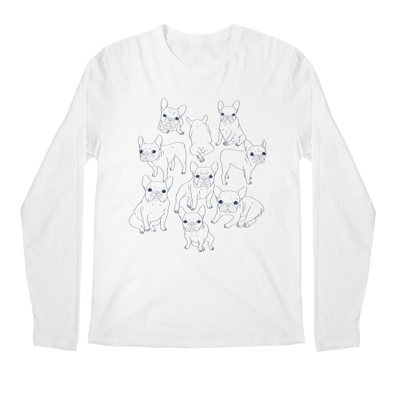 Hand Drawn Cute Frenchies Collage  Men's Regular Longsleeve T-Shirt by Emotional Frenchies - Cute French Bulldog T-shirts