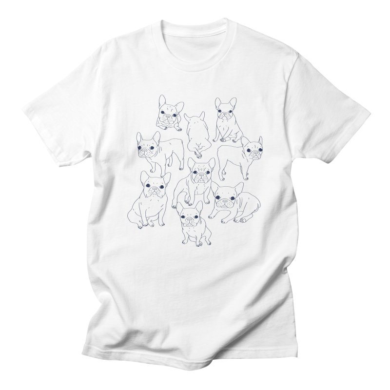 Hand Drawn Cute Frenchies Collage  Men's Regular T-Shirt by Emotional Frenchies - Cute French Bulldog T-shirts