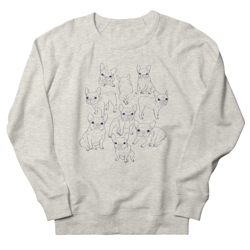 Hand Drawn Cute Frenchies Collage  Women's French Terry Sweatshirt by Emotional Frenchies - Cute French Bulldog T-shirts