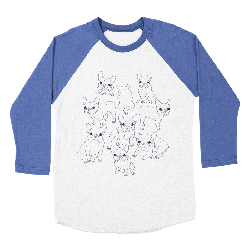 Hand Drawn Cute Frenchies Collage  Women's Baseball Triblend Longsleeve T-Shirt by Emotional Frenchies - Cute French Bulldog T-shirts
