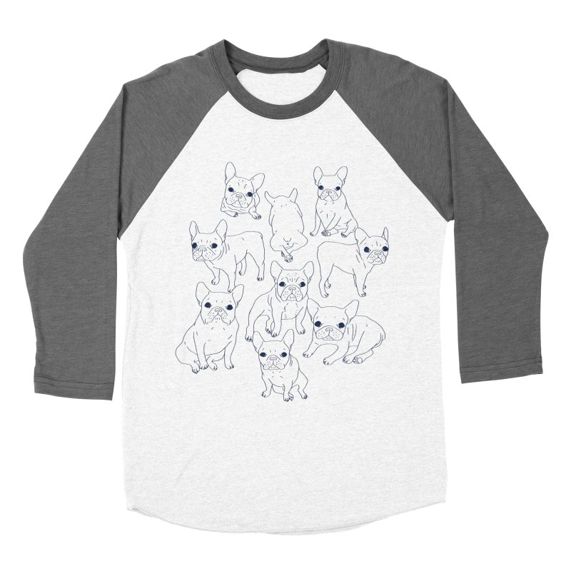Hand Drawn Cute Frenchies Collage  Men's Baseball Triblend Longsleeve T-Shirt by Emotional Frenchies - Cute French Bulldog T-shirts