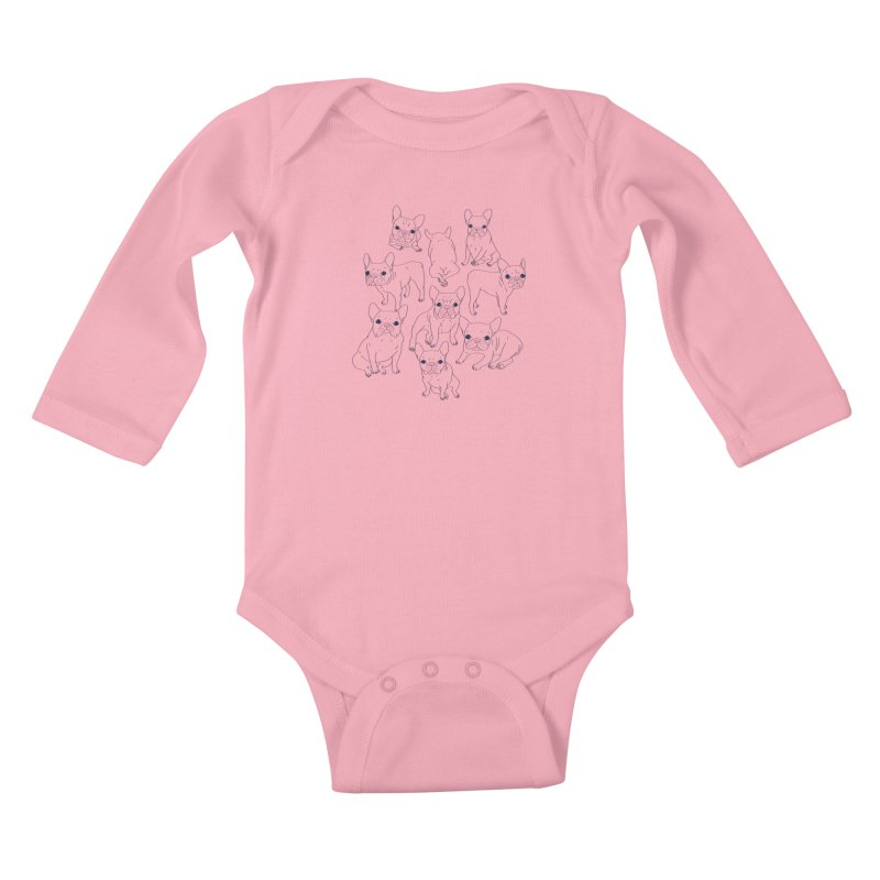 Hand Drawn Cute Frenchies Collage  Kids Baby Longsleeve Bodysuit by Emotional Frenchies - Cute French Bulldog T-shirts