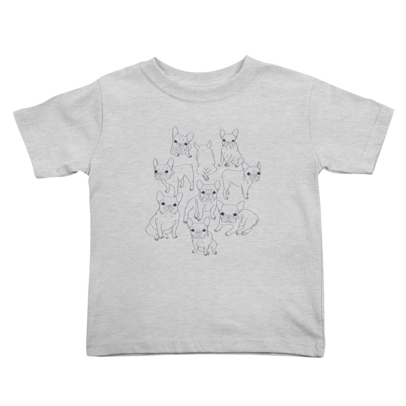 Hand Drawn Cute Frenchies Collage  Kids Toddler T-Shirt by Emotional Frenchies - Cute French Bulldog T-shirts