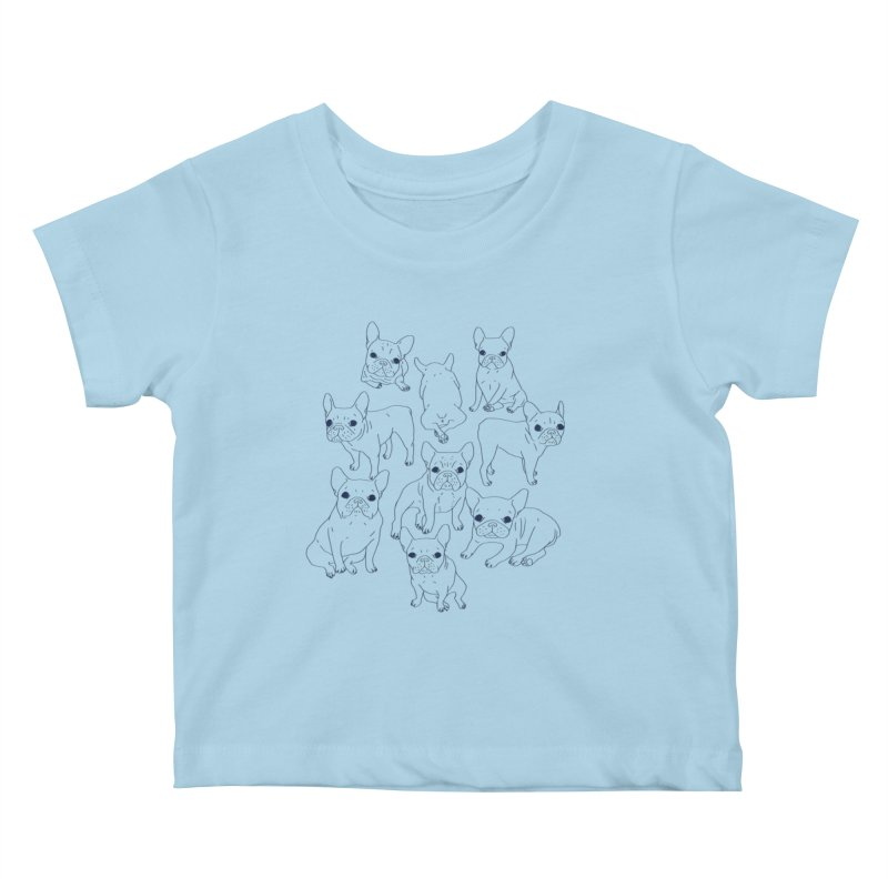 Hand Drawn Cute Frenchies Collage  Kids Baby T-Shirt by Emotional Frenchies - Cute French Bulldog T-shirts
