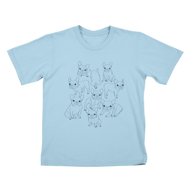 Hand Drawn Cute Frenchies Collage  Kids T-Shirt by Emotional Frenchies - Cute French Bulldog T-shirts