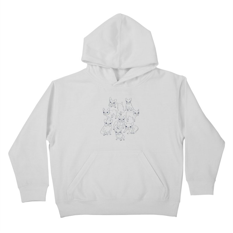 Hand Drawn Cute Frenchies Collage  Kids Pullover Hoody by Emotional Frenchies - Cute French Bulldog T-shirts