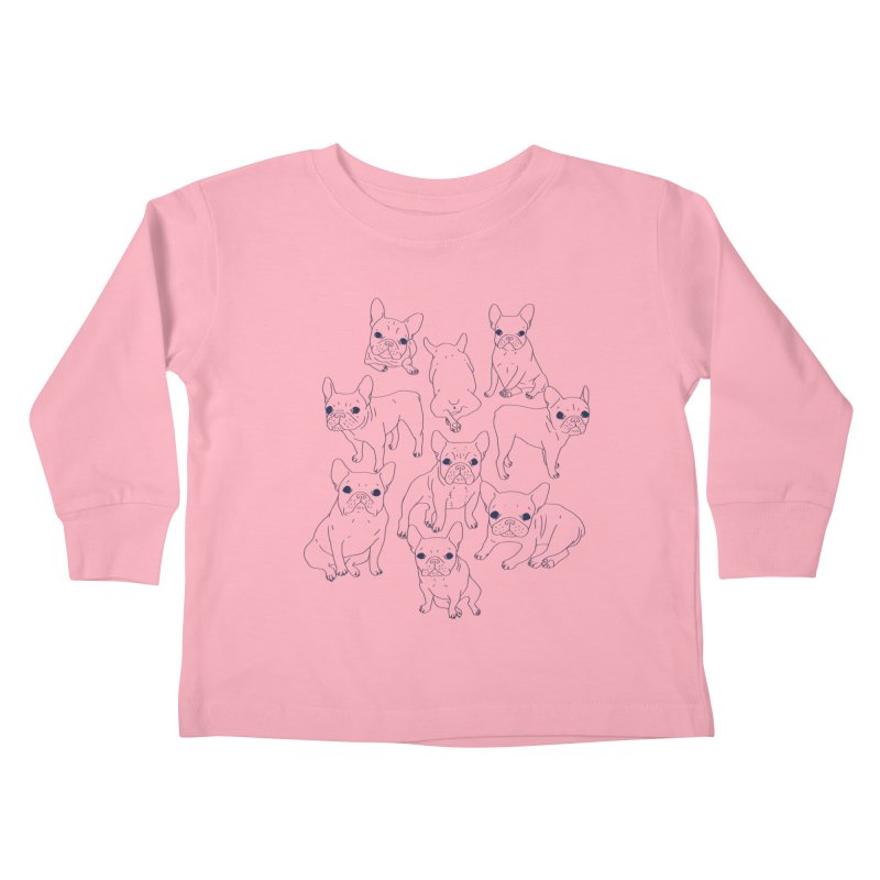 Hand Drawn Cute Frenchies Collage  Kids Toddler Longsleeve T-Shirt by Emotional Frenchies - Cute French Bulldog T-shirts