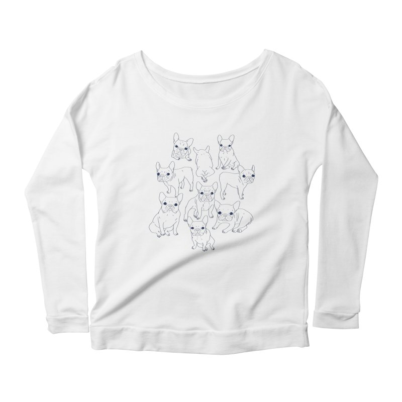 Hand Drawn Cute Frenchies Collage  Women's Scoop Neck Longsleeve T-Shirt by Emotional Frenchies - Cute French Bulldog T-shirts