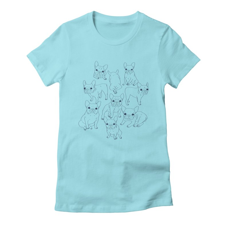 Hand Drawn Cute Frenchies Collage  Women's Fitted T-Shirt by Emotional Frenchies - Cute French Bulldog T-shirts